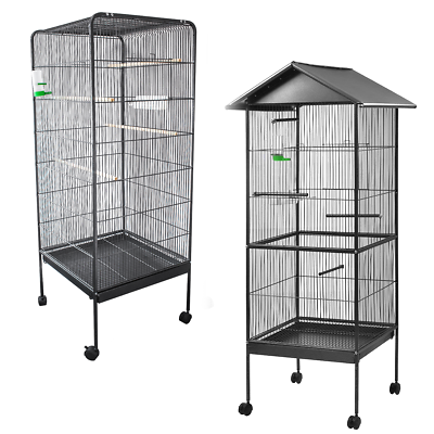 METAL BIRD CAGE WITH WHEELS AVIARY PERCH ENCLOSURE BUDGIE CANARY COCKATIEL STAND
