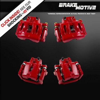 (Front And Rear Red Brake Calipers Pair Set 300 300S Challenger Charger Magnum)
