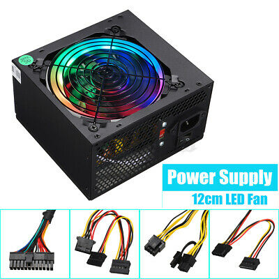 Max 500W Rated 300W Computer Gaming Power Supply LED Fan ATX