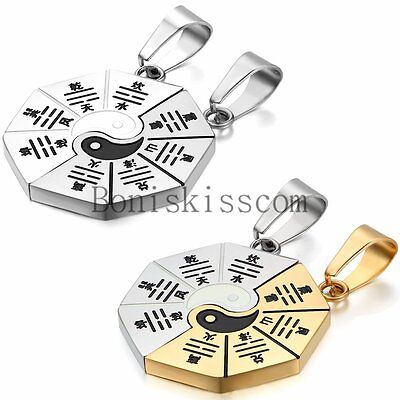 Matching Yin Yang BA GUA Eight Trigrams Stainless Steel Couple Pendant Necklace - Eight Pendant Necklace