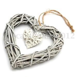 Wicker Heart Shabby Chic Wreath Wall Hanging House Wedding Birthday Party Decor