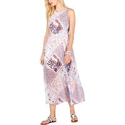 Tommy Hilfiger Womens Patchwork Halter Daytime Midi Dress BHFO 2199