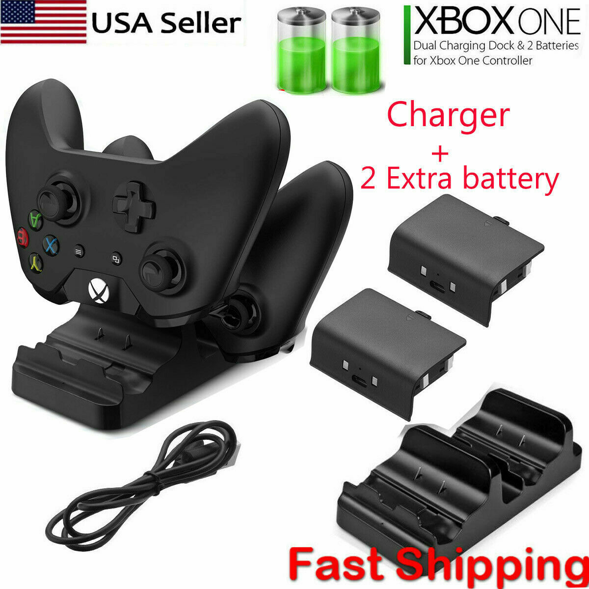 For Xbox One S X Dual Controller Dock Charger Station + 2 Re