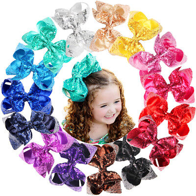 15Pcs 6Inch Sequins Boutique Hair Bows Alligator Clips For Kids Teens - Boutique For Kids