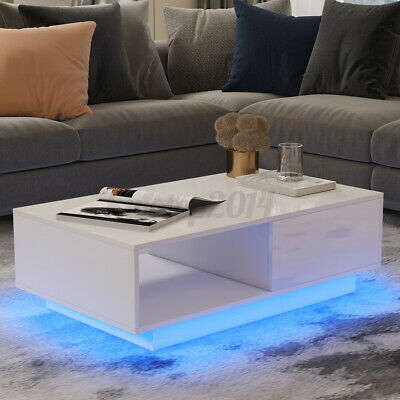 LED Glossy Coffee Table with 2 Drawer Storage Modern White Living Room End Table