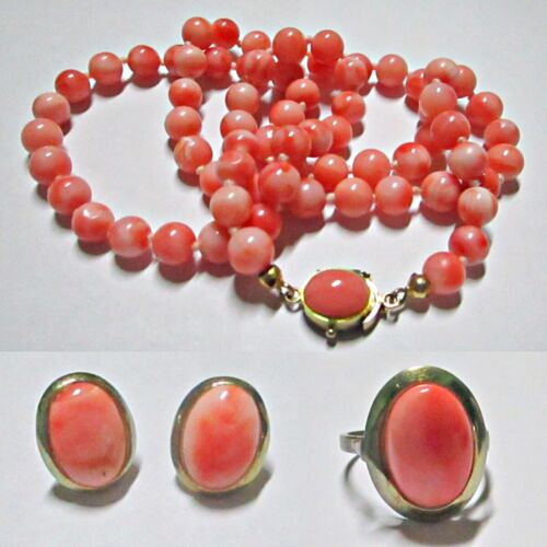 "Vintage Pink Coral 24"" Necklace Earrings & Ring Size 8 European 835 Silver"