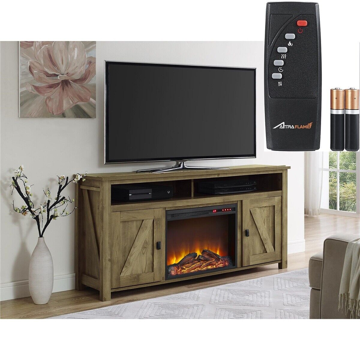 """Rustic Natural 2 Barn Door Electric Fireplace 60"""" TV Stand C"""
