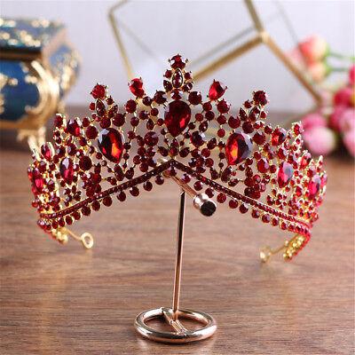 Wedding Bridal Red Rhinestone Tiara Crown Hair Accessories Headpiece Luxury Gift - Red Tiaras