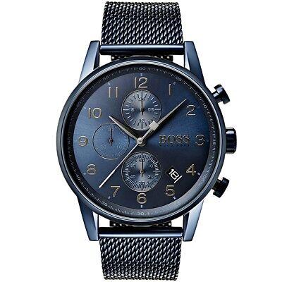 HUGO BOSS 1513538 Navigator Reloj de Hombre Meshband Color Azul Nuevo