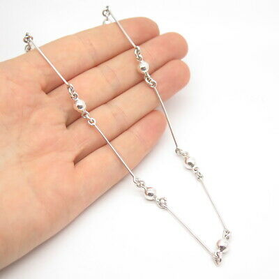 """925 Sterling Silver Vintage Bead & Bar Chain Necklace 16"""""""