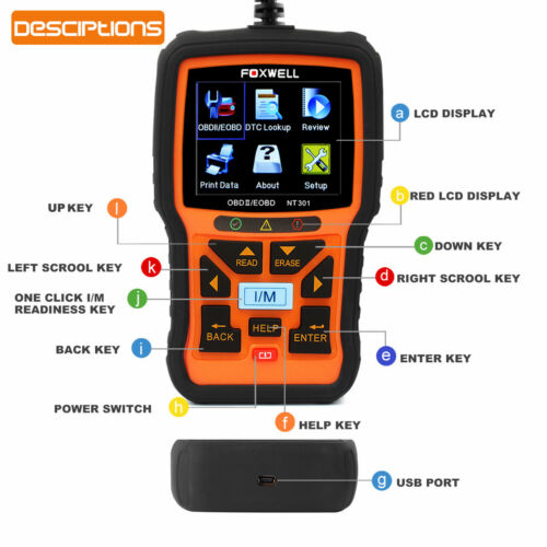 Details about OBDII EOBD CAN Car Engine Diagnostic Scan Tool OBD2 Code  Reader FOXWELL NT301 US