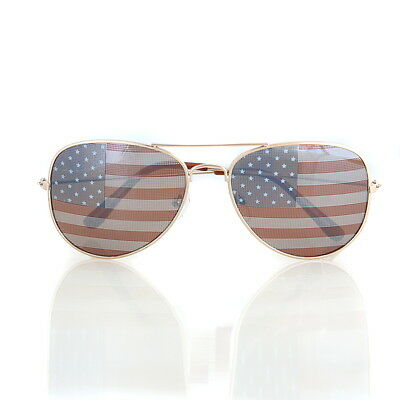 American USA Flag Aviator Sunglasses Patriotic United States Stars Stripes Gold