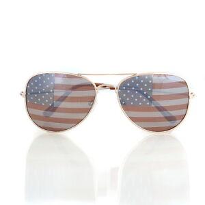 American USA Flag Aviator Sunglasses Patriotic United States Stars Stripes Gold