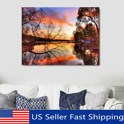 Sunset Landscape LED Lighted Luminous Painting Art Canvas Print Home Wall Decor