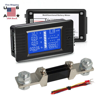 Dc0-200v 0-300a Dual Display Forward Reverse Current Meter Battery Monitorshunt