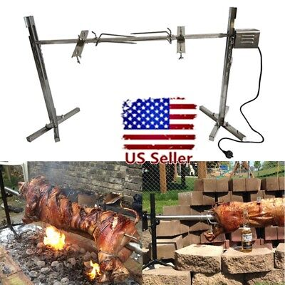 (Large Grill Rotisserie Spit Roaster Rod Charcoal BBQ Pig Chicken 50KG Motor Kit)