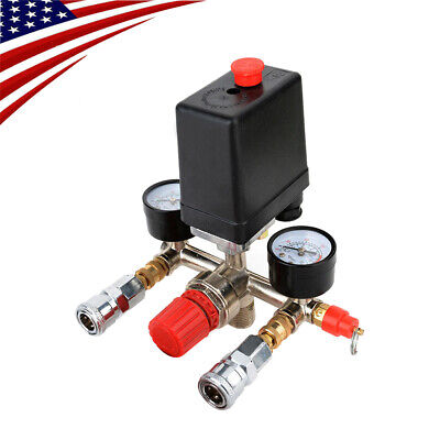 90-120psi Air Compressor Pressure Switch Control Valve Manifold Regulator Gauges