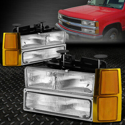 FOR 94-99 CHEVY C10 C/K PICKUP TRUCK OE CLEAR LENS HEADLIGHT+AMBER SIGNAL LAMP