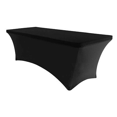 6 Ft. Spandex Fitted Stretch Tablecloth Table Cover Wedding Banquet Party Black