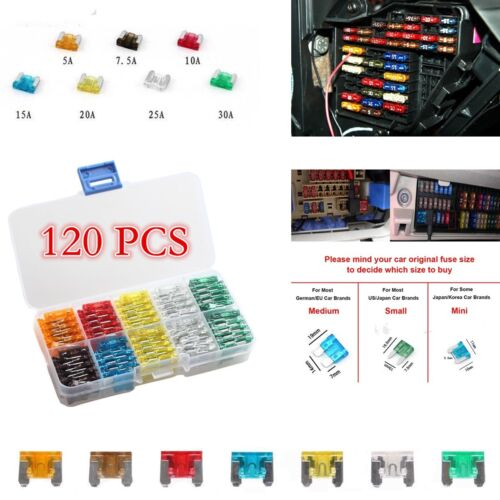 120pcs Assorted Auto Car Mini Low profile Blade Fuse 5A 7.5A 10A 15A 20A 25A 30A