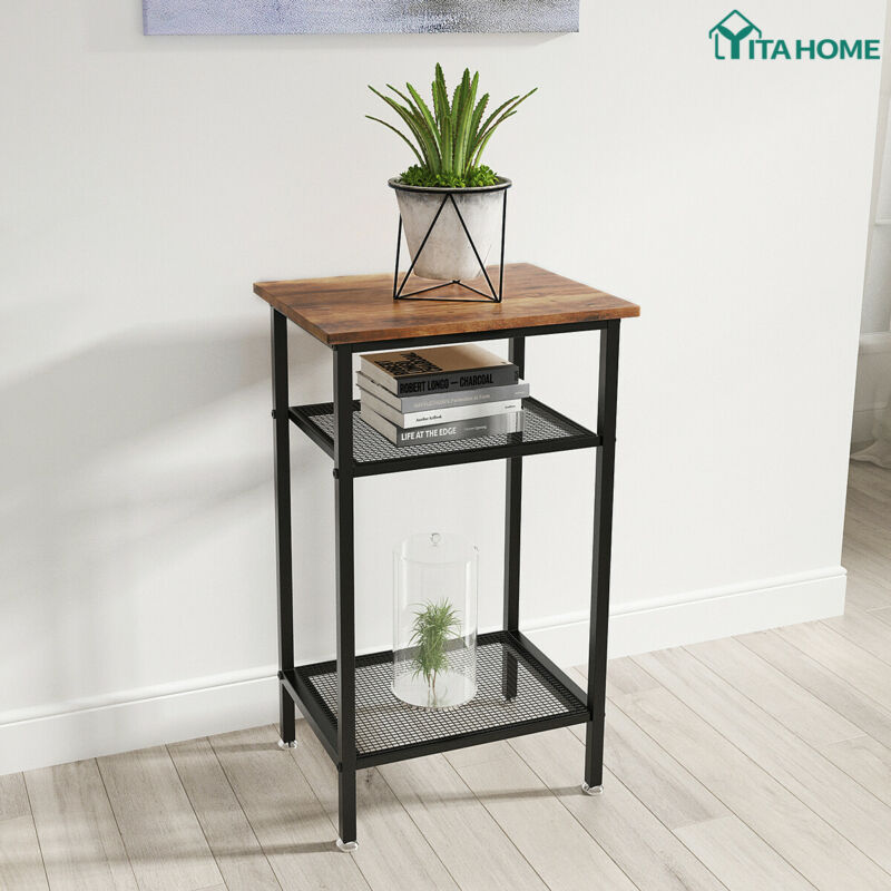 YITAHOME 3-Tier Side Table End Table Industrial Tall Storage Shelf Living Room