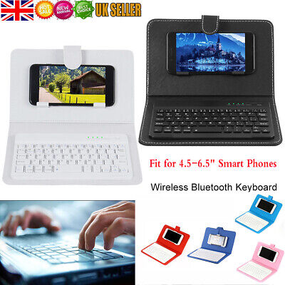 """Universal Wireless Bluetooth Keyboard Leather Case Cover Stand fit 4.5-6.5""""Phone"""