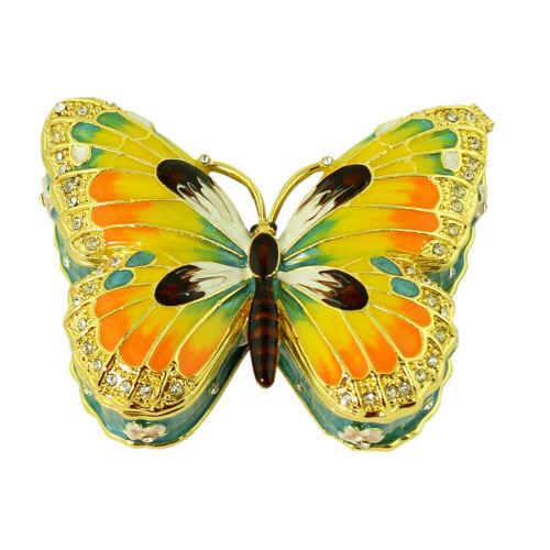 Orange Butterfly Hinged trinket box Bejeweled Crystals Gold Tone Keepsake Gift