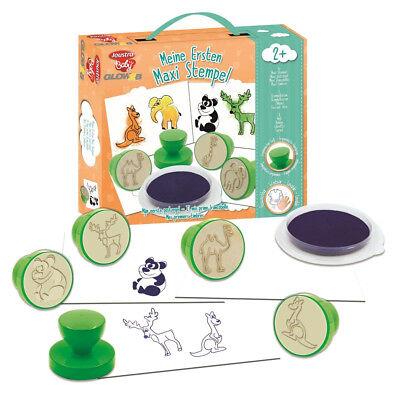 Maxi Tierstempel Motivstempel Tiere Kinder Stempel Set Stempelkissen ab 2 Jahre