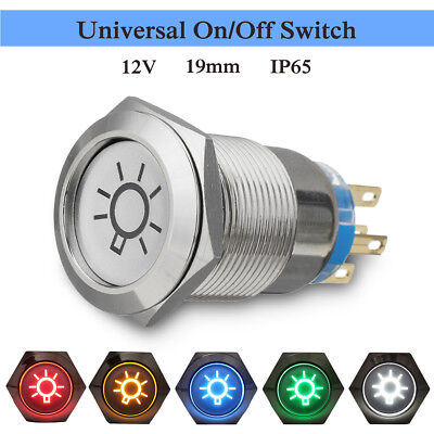 19mm 12V LED IP65 Push Button On Off Dome Light Switch For Car Auto Truck  /