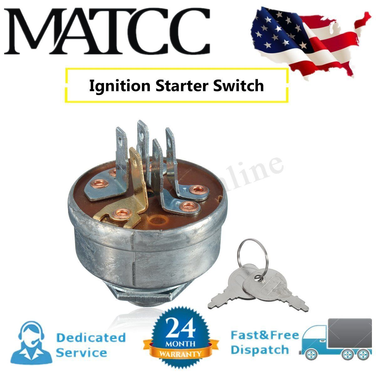 Lawn Mower Tractor Ignition Starter Switch & 2 Keys For Husq