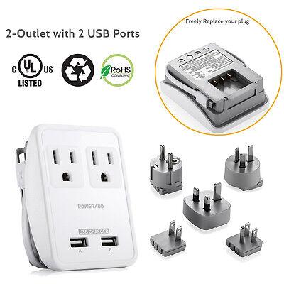 UK US AU EU JP Plug To Universal Travel AC Power Strip Conve