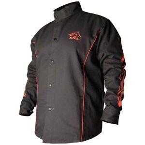 022b79bd4c13 Revco BSX Bx9c 9oz. FR Cotton Welding Jacket Black W red Flames 2x ...