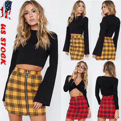 Women Ladies High Waisted Pencil Skirt Bodycon Plaid Zipper Mini Skirts Club US