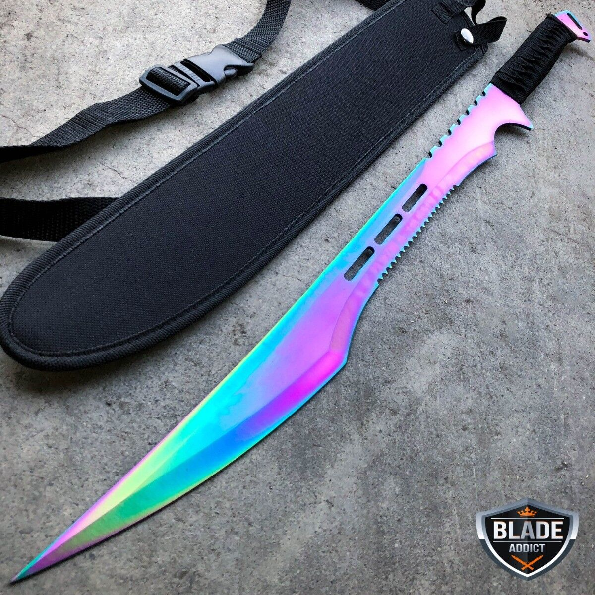 "2 PC 27"" Gold & Rainbow Full Tang Blade Machete Tactical Katana Ninja Sword SET"