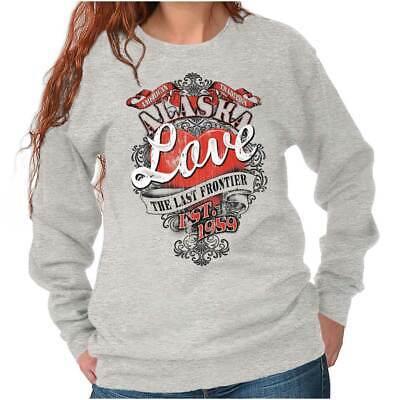 Alaska Last Frontier Fashion Souvenir AK Sweat Shirt Sweatshirt For Womens Alaska Sweatshirt