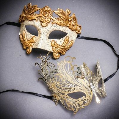 Luxury Gold Couple Masks Set Masquerade for Men & Women Party Prom Mask Costume - Womens Masks
