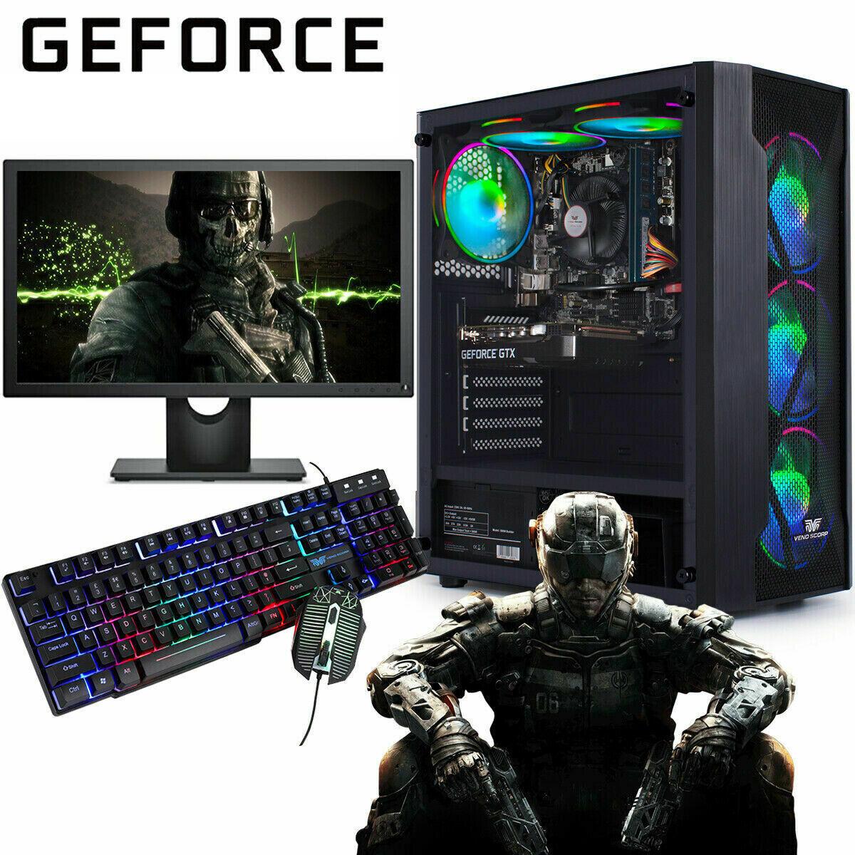Computer Games - Fast Gaming PC Computer Bundle Intel Quad Core i5 16GB 1TB Win 10 2GB GT710