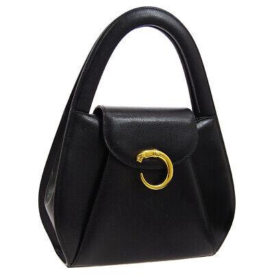 Cartier Panther Logos Hand Bag G26 Purse Black Leather Vintage France AK38552f