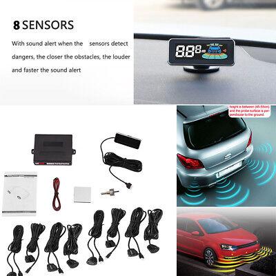 Car LCD Parking Sensors System Kit 8 sensors Reverse Accessories waterproof  12V