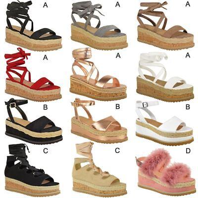 Womens Ladies Wedge Flat Espadrille Lace Tie Up Sandals Platform Summer Shoes Lace Up Platform Sandal