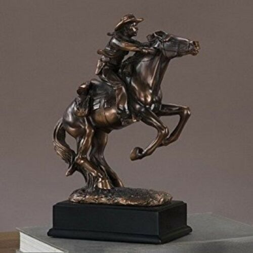 Bronze Sculpture Western Cowboy Rider Horse Figurine Art Statue Room Collect Gif