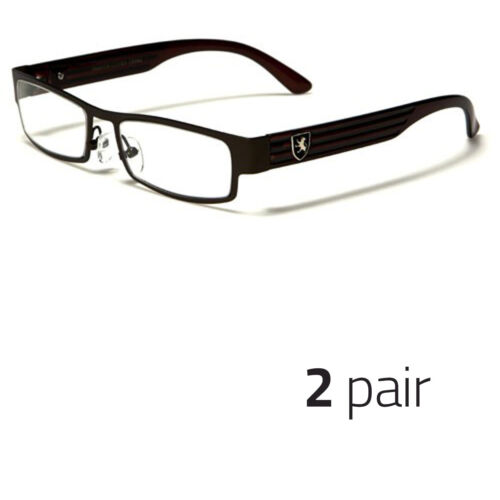 2 Pc Small Women Clear Lens Square Rx Sunglasses Black Silver Eyeglasses Brown