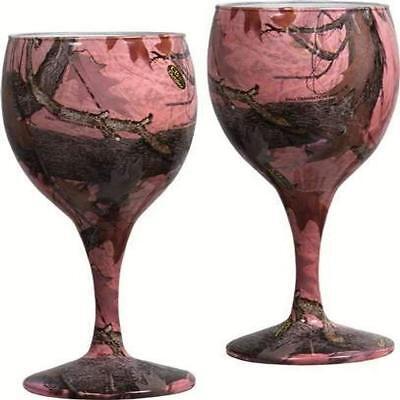 6536 River's Edge REP094 Pink Camo Wine Glasses 2 pack Bachelorette Party Idea](Wine Party Ideas)