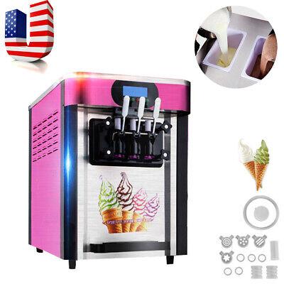 Top Commercial Soft Ice Cream Making Machine Desktop Automatic Drum 3 Flavors