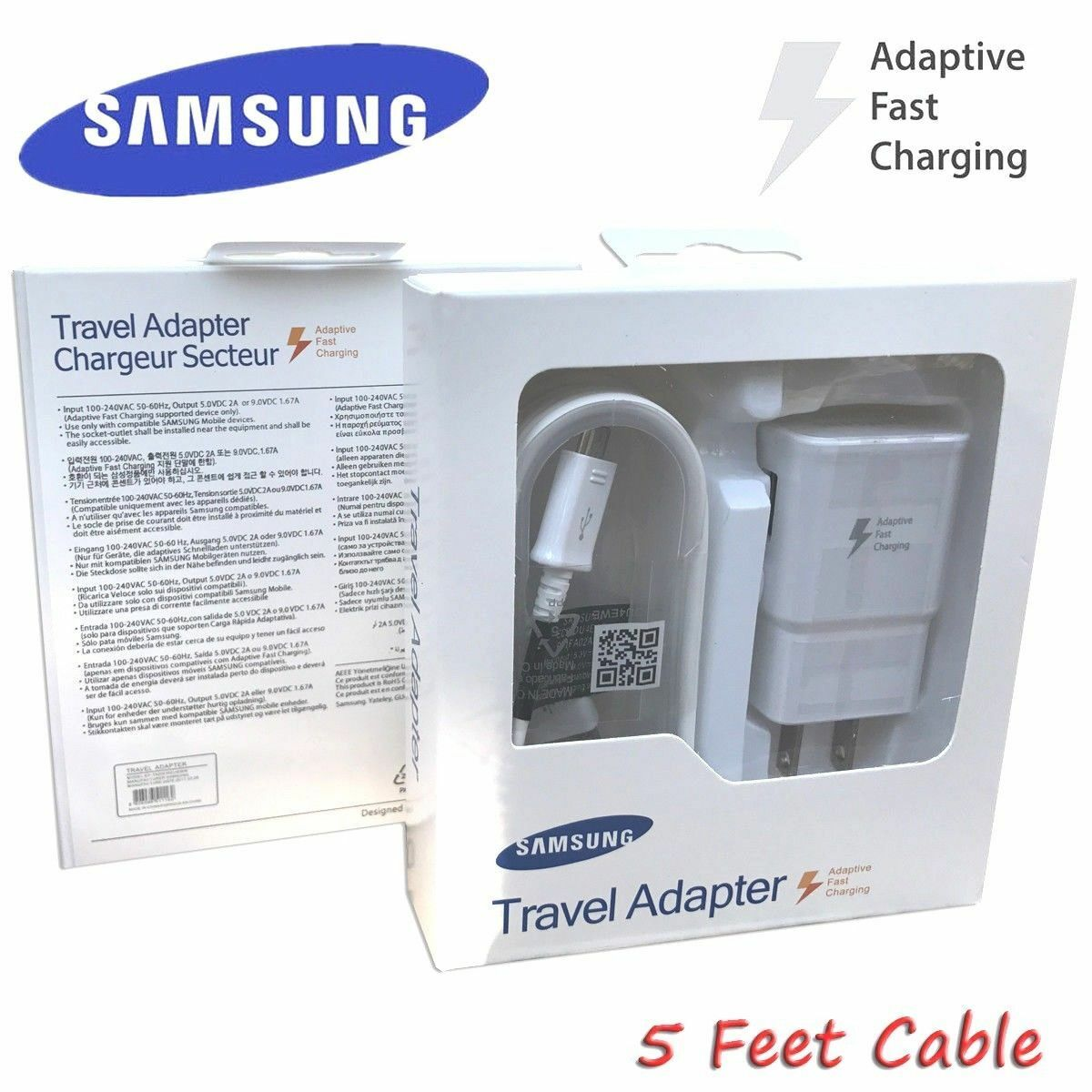 OEM Fast Rapid Wall Charger 5 Ft Cable For Samsung Galaxy S6