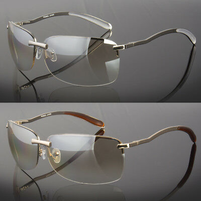 Men Rectangular Rimless Designer Sunglasses Shades Eyewear Silver Gold (Rimless Sunglasses For Men)