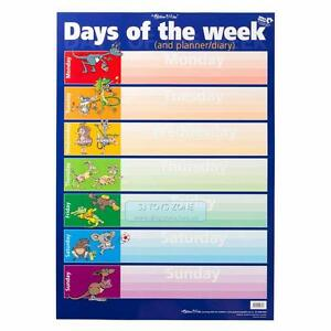 Days of the Week Name & Days of the Week Learning Planner & Diary Wall Chart Pos
