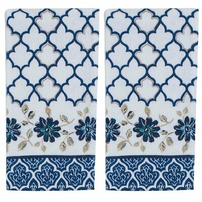 Set of 2 Kay Dee Designs INDIGOLD Terry Cloth Kitchen Towels Blue, White, Gold