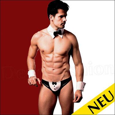 NEU 🌸 Sexy BUTLER Männer DIENER Kostüm PARTY Fliege COSPLAY Kellner WET 🌸 M L