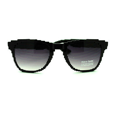 Gradiant Lens - Black 32 Bit Nerdy Pixel Sunglasses with Gradiant Lenses